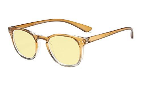 Eyekepper Blue Light Blocking-Computerbrille Digital Eye Strain Prevention-Lesebrille mit gelb getönten Gläsern (Braun-transparenter Rahmen, 4.00)