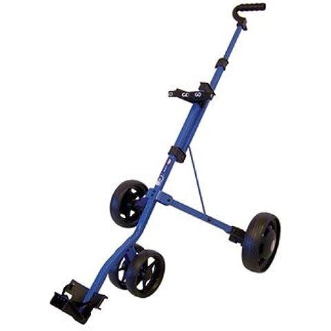 Go Golf Junior 3 Wheel - Carrito de golf de mano con ruedas ( 3 ruedas, correas, junior, ligero, plegable ) , color azul, talla