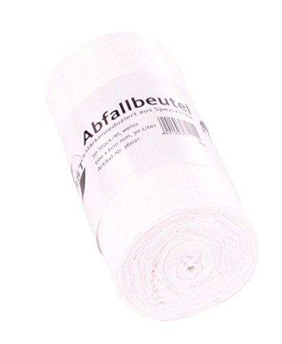 50 Stück DEISS First Müllbeutel 30 Liter - Müllsäcke in weiß - Abfallsack Größe: 50x60 cm, Stärke: 12µ - Mülltüten, Müllsack, Abfallbeutel, 50 Stück/Rolle