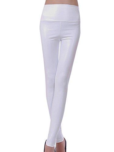 d777a9ef4d Mujeres PU Cuero Leggings Skinny Elásticos Treggings Pantalones.