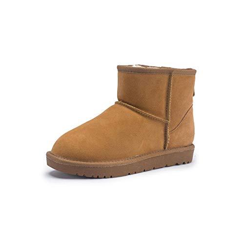 FF Schneeschuhe Weibliche Kurze Stiefel Warme Baumwolle Schuhe Student Verdicken Plus SAMT Echtem Leder Rindsleder Flache Rutschfeste damenstiefel (Farbe : Camel, Size : EU36/UK3.5/CN35)