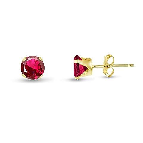 kezef rond 4mm Rubis Rouge Lab créé Jaune Boucles d'oreilles clous en argent plaqué or