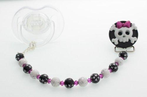 Preisvergleich Produktbild Crystal Dream Elegant Schwarz & Weiß Perlen Schleife Totenkopf Skull handmade Geschenk Unisex Infant Schnuller Clip (cskb)