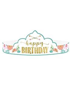 Amscan International 250832 Accesorios para disfraz, Tiaras Ppr Boho cumpleaños niña