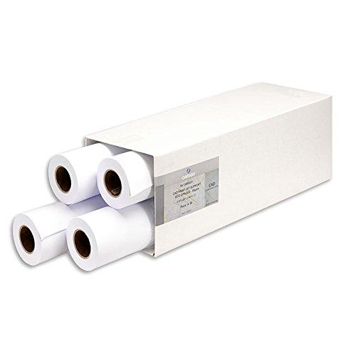 Canson 0,610 x 50 m, 80 g/mq, rotolo di carta opaca per stampante a getto d'inchiostro, colore: bianco (confezione da 4)