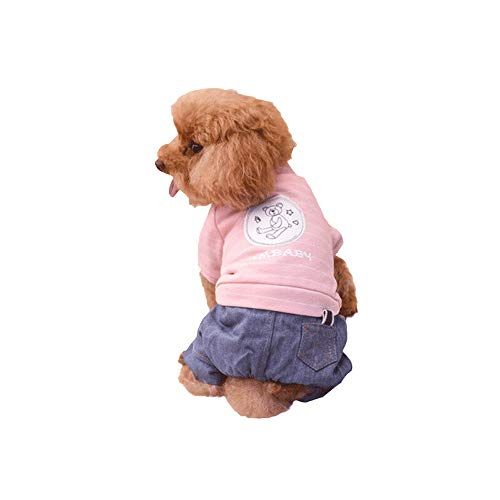 FXnn Haustier Kleidung - Hund Kleidung kleine Hunde Herbst und Winter Haustier Kleidung Hund Kleidung Teddy VIP als Bär vierbeinigen Hund Kleidung Welpen Kleidung rosa gestreiften Bären Tierbedarf/K