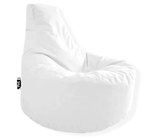 Patchhome Gamer Kissen Lounge Kissen Sitzsack Sessel Sitzkissen In & Outdoor geeignet fertig befüllt - Weiß - in 25 Farben