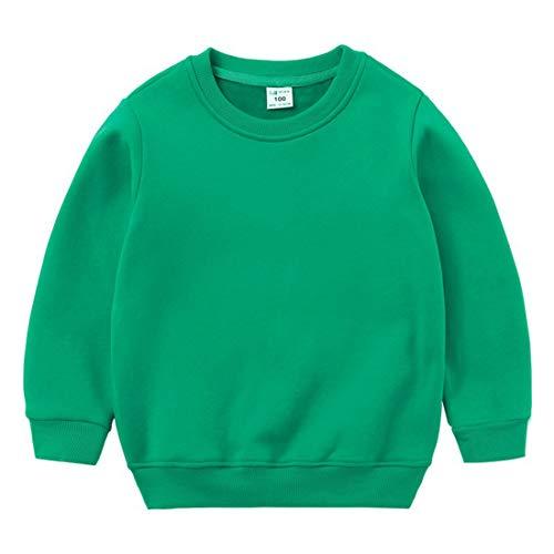 ZIHOUKIJ Unisexe Bébé Tenue Automne-Hiver Épais Coton Couleur Unie Sweat-Shirt Chaud Size 140 (Green)