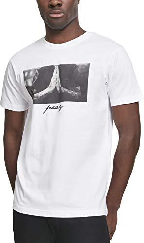Mister Tee Herren T-Shirt Pray Tee, Weiss (White), Gr. L - Großer Mann Crewneck T-shirt