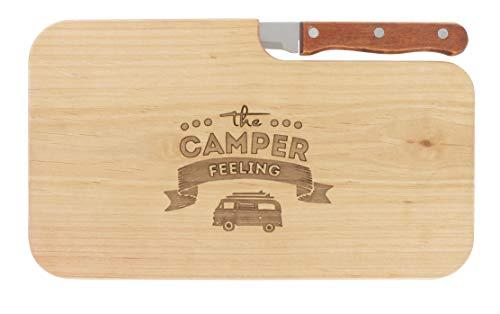 Brotzeitbrett Jausenbrett Holz Erle Messer Camper Feeling Geschenk Männer Geschenk Frauen Schneidbrett Holz Geschenkidee für Ihn Geschenkidee für Sie (Camping Holz)