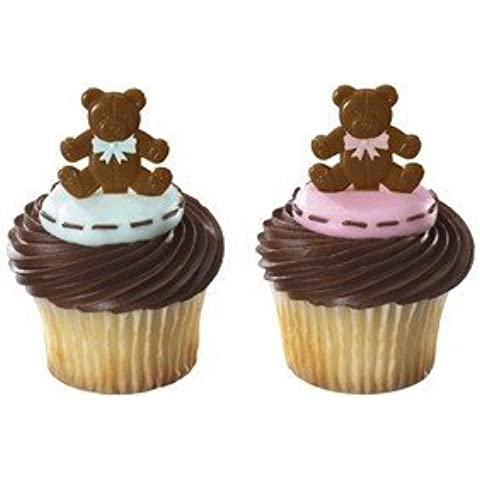 Baby Boy/girl Teddy Bear Cake Cupcake Decoration Picks Pkg of 12 by DECOPAC