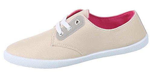 Damen-Schuhe Sneaker   sportliche Freizeitschuhe in verschiedenen Farben und Größen   Schuhcity24   Schnürer Beige