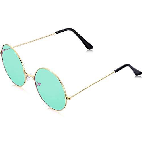 Mimiga Sonnenbrille Retro Runde Legierung Rahmen Brillen Brillen Eyewear Vintage Männer Frauen Hippie Rund Polarisiert Pilotenbrille Getönt