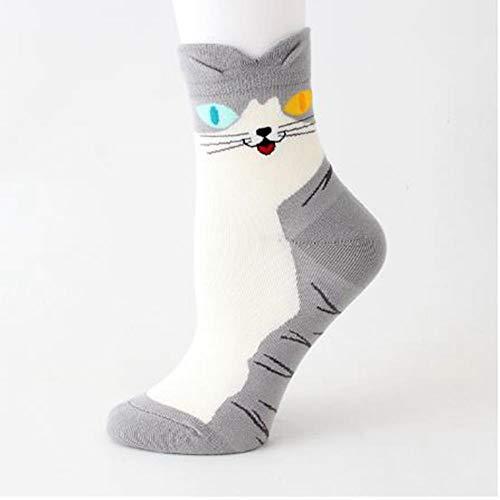 Studentensocken, 4 Paare Herbst 3D Ohr Eulen Socken Nette Wilde Socken Dünne Streifen Katzen Socken Beiläufige Nette Baumwollsocken