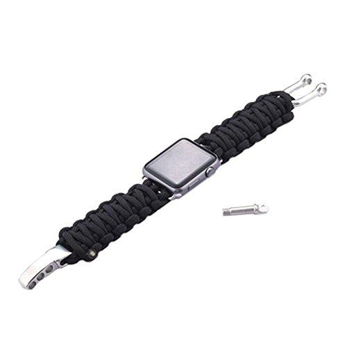 EMVANV 42mm Armbanduhr Band Parachute Cord Line Outdoor Sports Armband Bands Adapter für Apple Smart Watch Strap, Schwarz Smart Cord