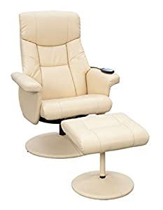 Supra Swivel Recliner Reclining Chair & Footstool with Massage - Brown