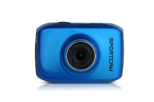 Lenco SPORTCAM-100 Sport-Digitalkamera (6 cm (2,4 Zoll) TFT-Display, HD, 4-fach digitaler Zoom, USB) blau
