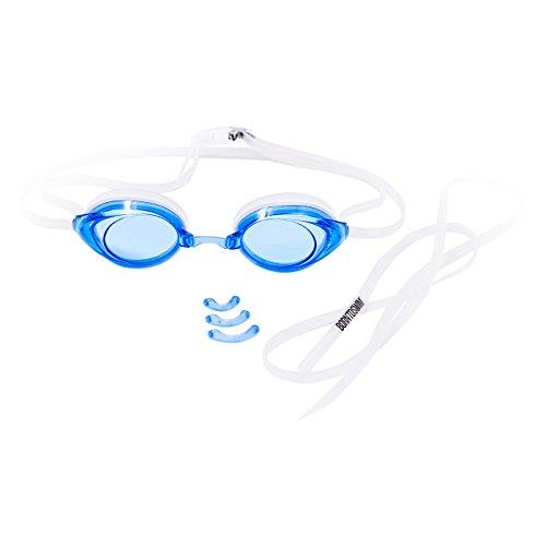 BornToSwim Bequeme Racer Comfort Schwimmbrille mit Antibeschlag-Schutz Mitmit Kostenloser Schutzhülle, Blau, One size (Aqua Sphere-schutzhülle)