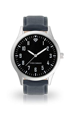 YVES CAMANI UNISSON Armbanduhr Analog Quarz schwarzes Zifferblatt (Leder - Blau)