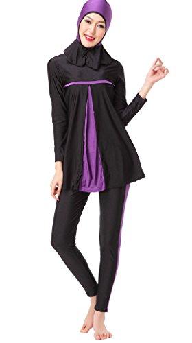 Kostüm Marokkanische Frauen (Auspicious beginning Moslemisch Bademode Hijab Bescheideny Bescheiden Badeanzug Damen-Kostüm, XS-3XL ausgestattet)