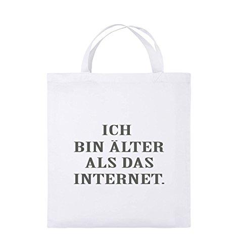 Comedy Bags - ICH BIN ÄLTER ALS DAS INTERNET - Jutebeutel - kurze Henkel - 38x42cm - Farbe: Schwarz / Silber Weiss / Grau