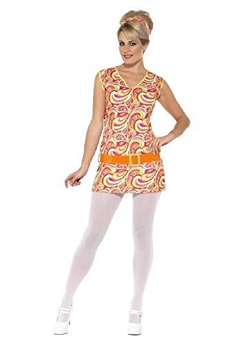 Fancy Me Damen 1960s Jahre 1970s sexy gelb Hippie Hippy Junggesellinnenabschied Kostüm Kleid Outfit UK 8-18 - Gelb, 12-14