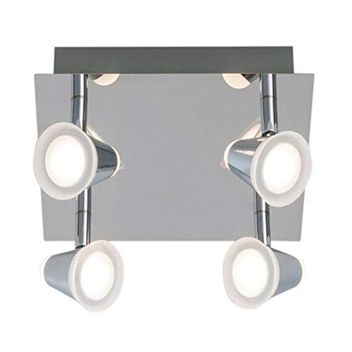 Plafonnier 4 spots LED orientables NINO argenté en métal