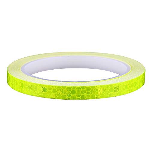 Aubess, Nastro Luminoso, Adesivi fosforescenti al Buio, Impermeabili, Riflettenti, per Corsa, Ciclismo, Sicurezza Fluorescente di Emergenza, Nastro Decorativo da Parete (8 x 1 cm), Yellow, 8M