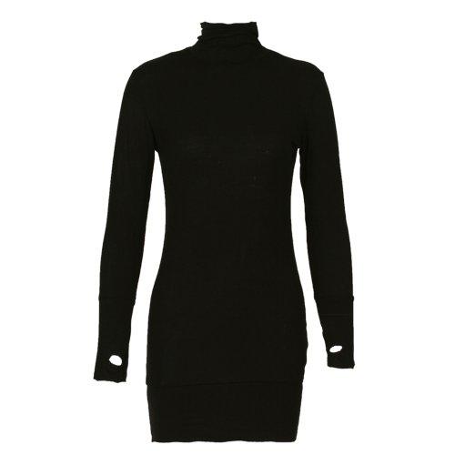 Femme pull long avec un/pulloverkleid, avec ouvertures pour les pouces-col roulé bas Noir - Noir