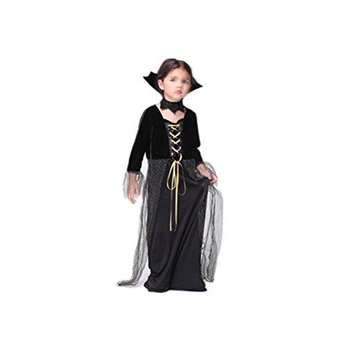 Tinksky Hexe Kostüm Kinder Halloween Cosplay zeigt Kostüm Kit für Mädchen - Größe M (schwarzes Kleid) (Mädchen Schatz Königin Kostüme)