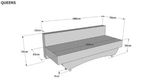 Schlafsofa Queens 186 x 80 cm, Mikrofaser, rot - 4