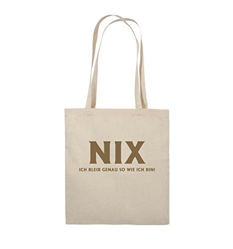 Comedy Bags - NIX ICH BLEIB GENAU SO - Jutebeutel - lange Henkel - 38x42cm - Farbe: Schwarz / Pink Natural / Hellbraun