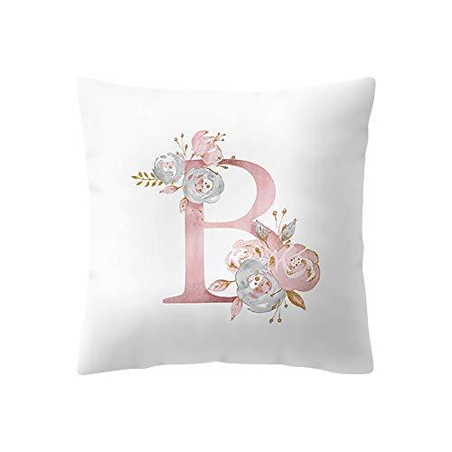 Kinder Zimmer Dekoration 26 Brief A-Z Kissen Englisch Alphabet Polyester Kissen Abdeckung für Sofa Dekoration Blume Kissenbezug (B) ()