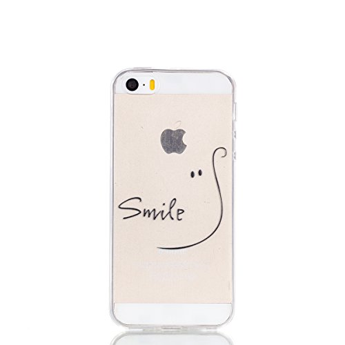 iPhone SE 5 5S Hülle,iPhone SE 5 5S Case [Scratch-Resistant] , Cozy Hut ® Ahornblatt Design Malerei Silikon Hülle / Schutzhülle / Cover für iPhone SE 5 5S, TPU Clear Transparent Protective back Hülle  lächeln