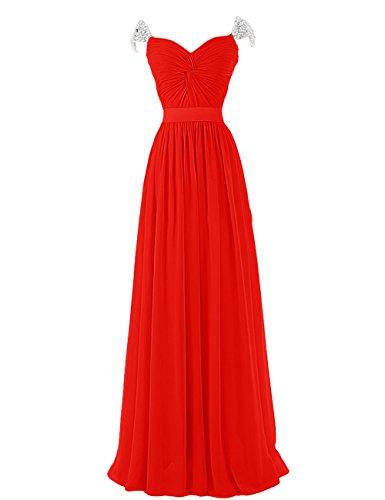 Dresstells, Robe longue de soirée de mariage Robe de cérémonie Robe de gala bustier en coeur avec emperler ceinture Rouge