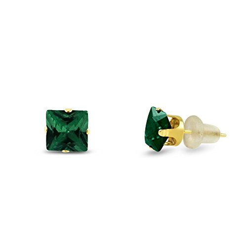 kezef-square-6x6mm-simulated-emerald-green-10k-yellow-gold-stud-earrings