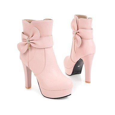 Rtry Femmes Chaussures Similicuir Mode Hiver Bottes Bottes Chunky Talon Bout Rond Bout Bottillons / Bottines Bowknot Pour Vêtements De Travail Rougeurs Rose Us10.5 / Eu42 / Uk8.5 / Cn43