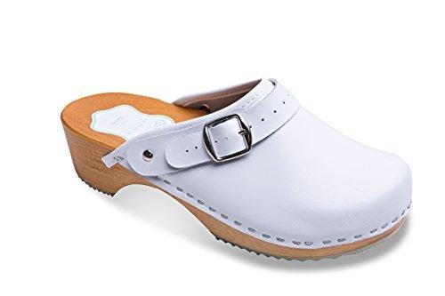 FUTURO FASHION Damen gesundes natürlich Echtleder Holz Sohle Einfarbig Clogs Unisex Farben Größen 3-8 UK - Weiß, 8 UK/42 EU (Clog Fashion)