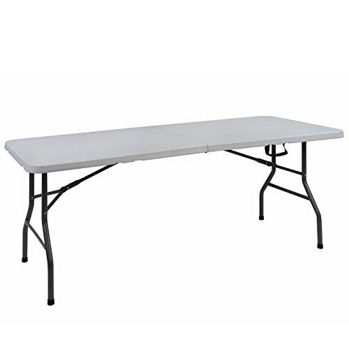 Camping Tisch Multitisch CEDRIC 182 x 75,5 x 74 cm klappbar Gartentisch Multifunktionstisch Campingtisch Esstisch Partytisch Klapptisch Falttisch Picknick Flohmarkt HDPE Buffettisch, Farbe:weiß (Klapp-tische Für Partys)