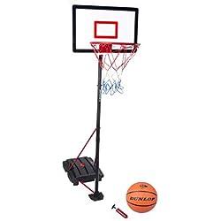 Panier de basket sur pied, incl. basketball + pompe, Dunlop, 165-205cm