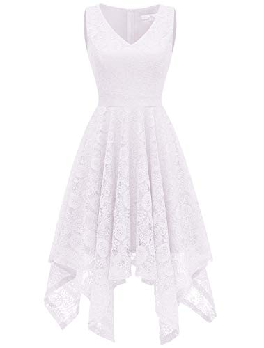 Aupuls 0036 Spitzenkleid Lang unregelmäßig Cocktailkleid Einfarbig Festliche Kleider Weiß Small