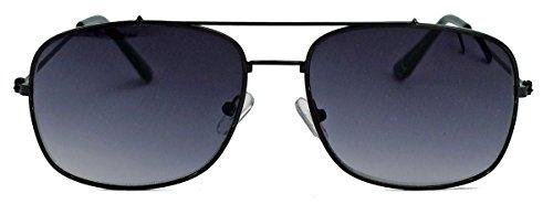 Retro Sonnenbrille 70er 80er Jahre Pilotenbrille Square Aviator super Old Old School Style F27 (Schwarz)