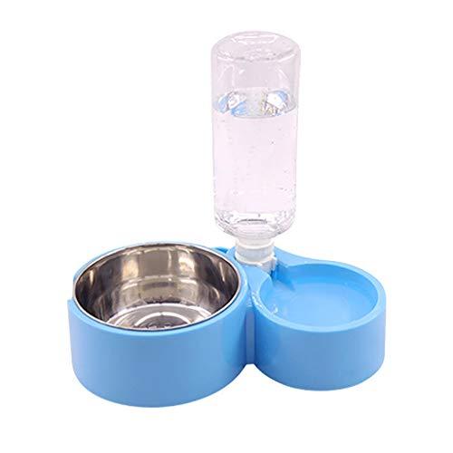 Pet Bowl Pet Feeder Automatische Wassernachspeisung Pet Feeding Bowl Double Pet Edelstahlschale FKYGDQ (Color : A) -