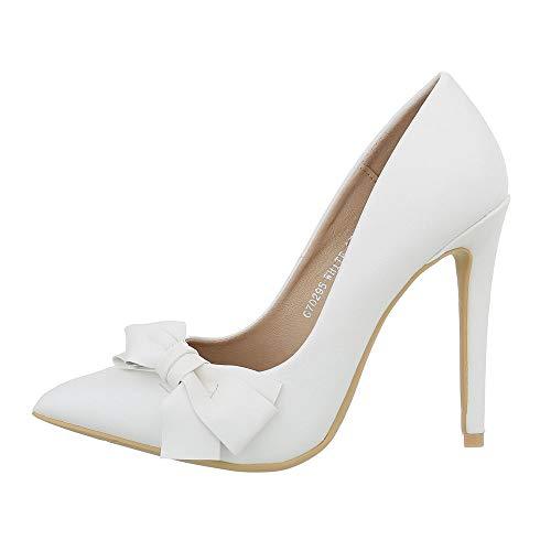 Ital-Design Damenschuhe Pumps High Heel Pumps Synthetik Weiß Gr. 39 (Design High Heel)