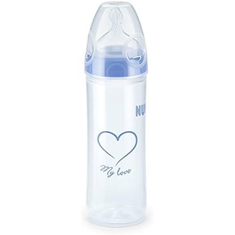 NUK 10216139 biberón New Classic cuerpo de la botella estrecha con First Choice Plus pezones, tamaño 2 M, 1 pieza, de 250 ml, azul