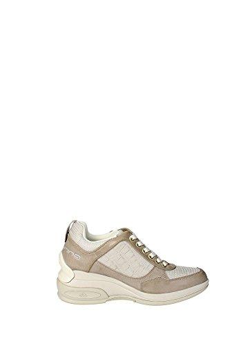 Fornarina Sneaker élevé femmes Augmenter Cm 7 Leather printed calf suedeWoman Chalk Gris