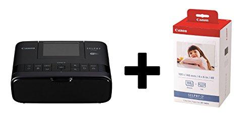 Canon SELPHY CP1300 Fotodrucker inkl. Druckpatrone/ Papiersatz für 108 Ausdrucke (Thermosublimation, USB, WLAN, LC-Display, AirPrint, Mopria, SD-Slot) (Schwarz)