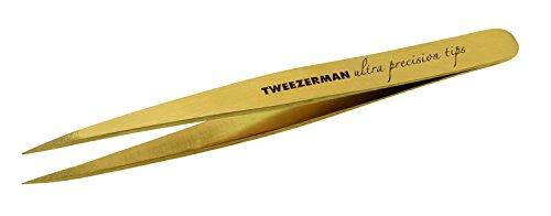 Tweezerman Studio Collection Ultra Precision Tweezer Pinzette spitz feine eingewachsene Haare rostfreier Edelstahl Augenbrauen Haarentfernung tnt gold Beschichtung 1245-LLT