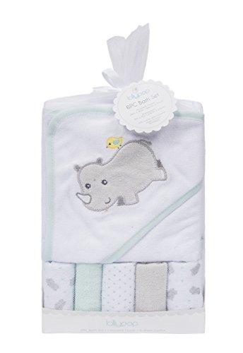 Toalla con capucha de bebé, conjunto de toallas, patrón de bordado animal lindo, 5 + 1 papel de regalo.