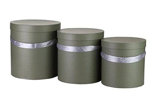 3er Set aus runden Deko boxen, Hutschachtel, Aufbewahrungsbox, Geschenkbox, Blumenschachtel (Braungrün) (Aufbewahrungsboxen Runde)